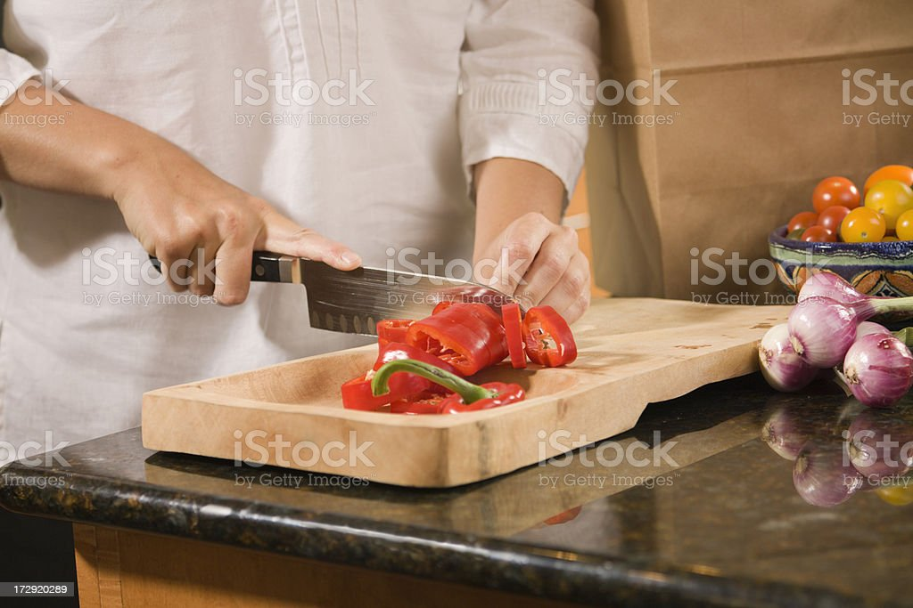 Cutting Red Pepper royalty-free stock photo