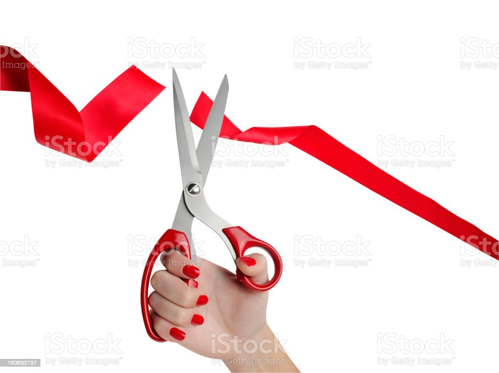Cutting Red Ribbon Opening Ceremony royalty-free stock photo