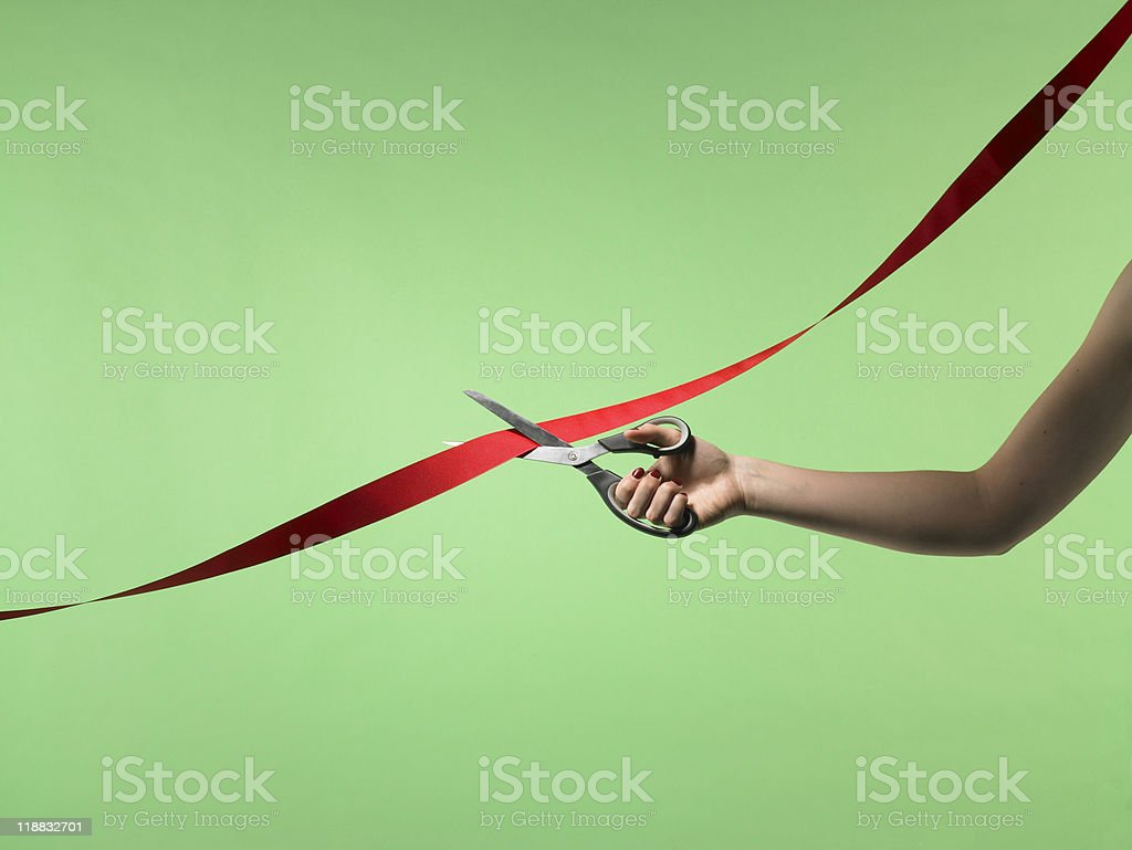 Cutting ribbon stock photo