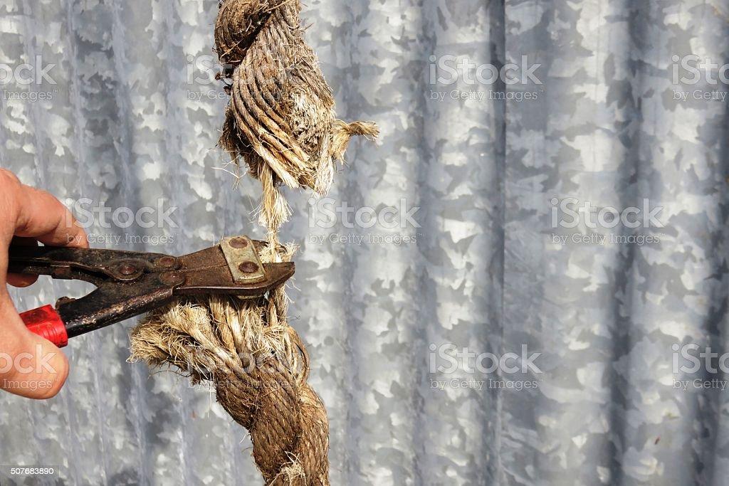 Cutting Rope stock photo