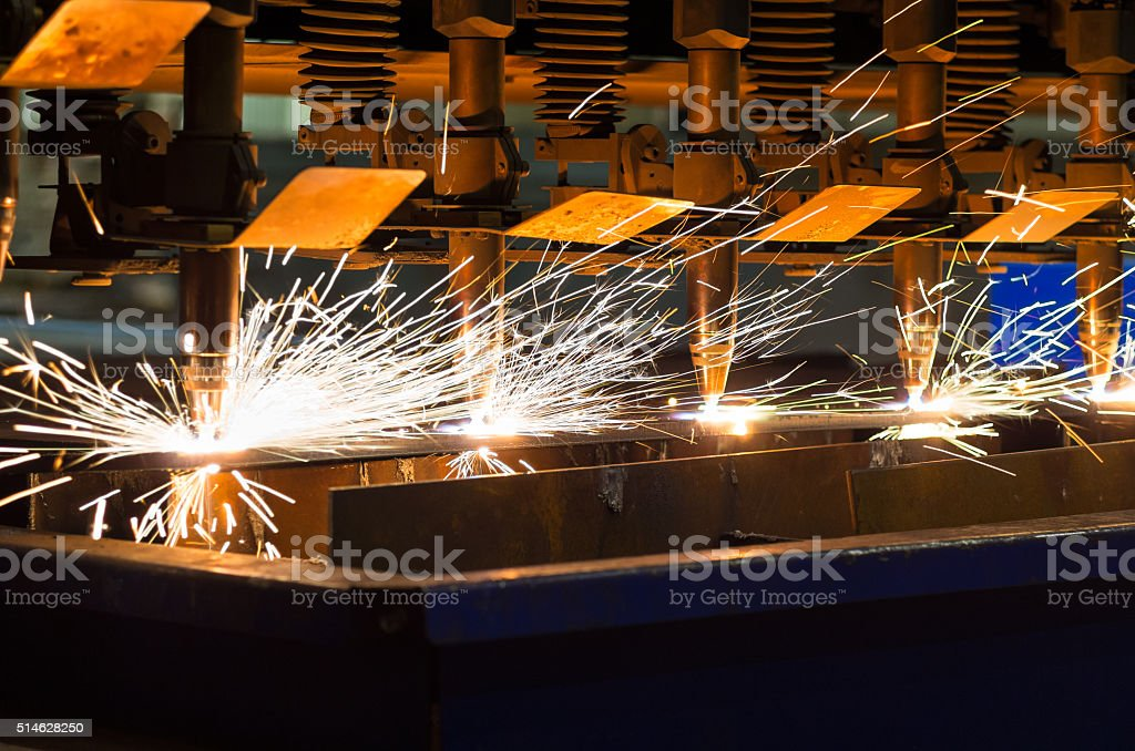 CNC LPG cutting sheet metal stock photo