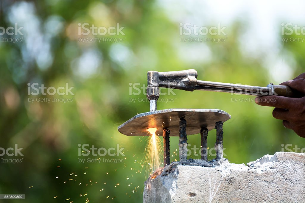 Cutting steel construction building stock photo