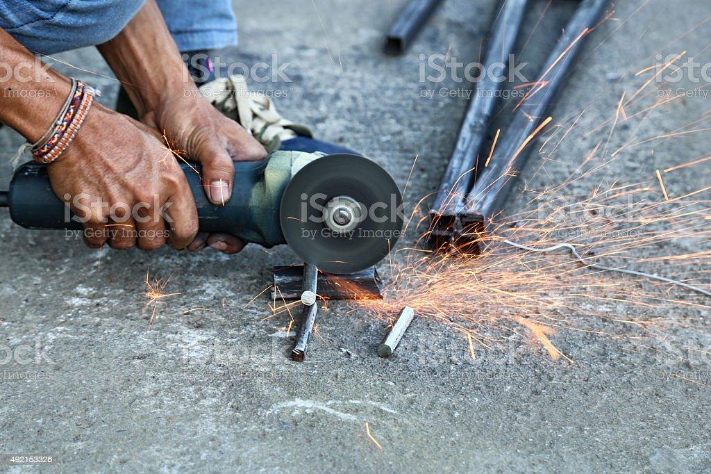 Cutting steel stock photo