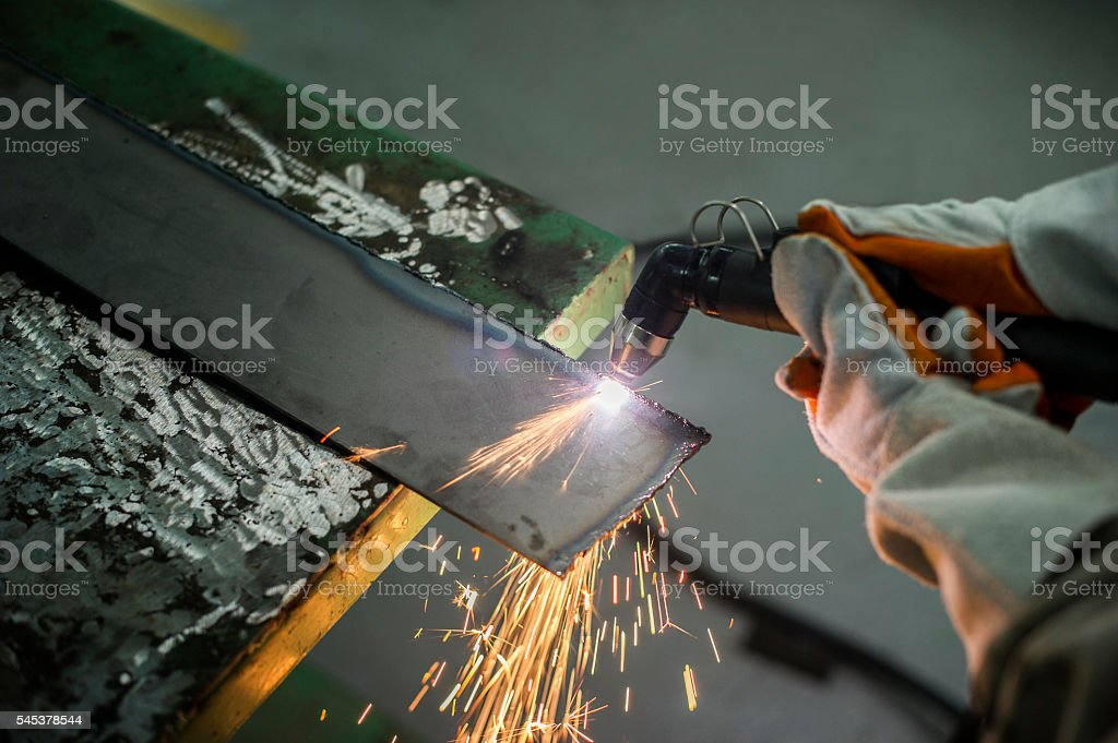Cutting steel with a plasma.Working Industry. stock photo