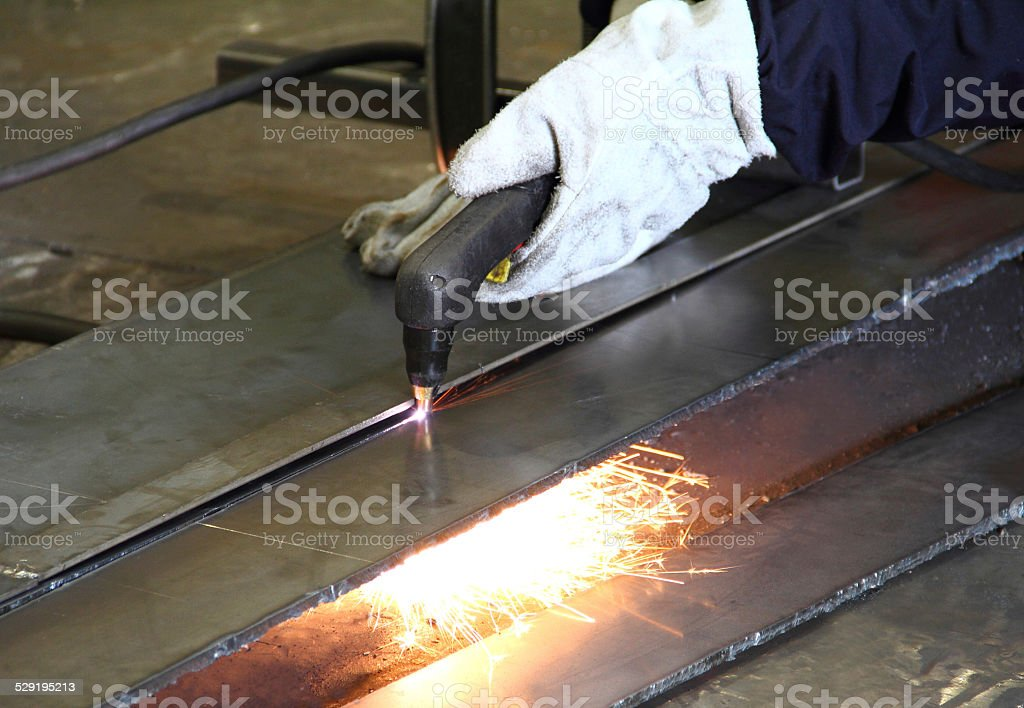 Cutting steel with gas stock photo