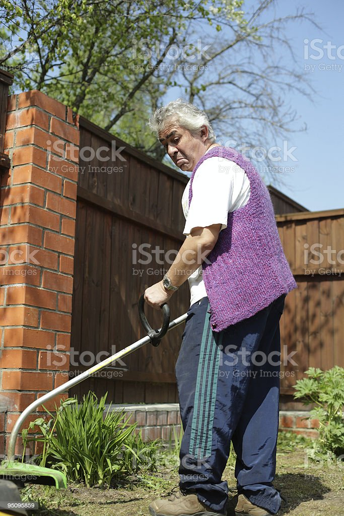Cutting the grass stock photo