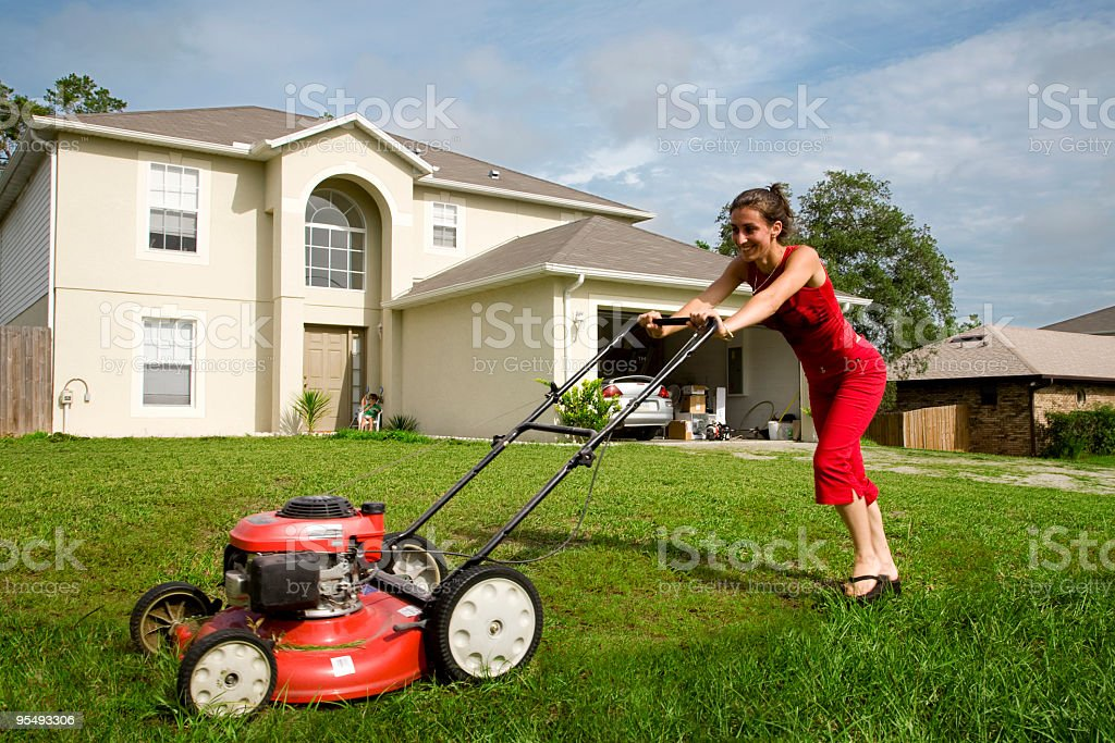 cutting the grass royalty-free stock photo