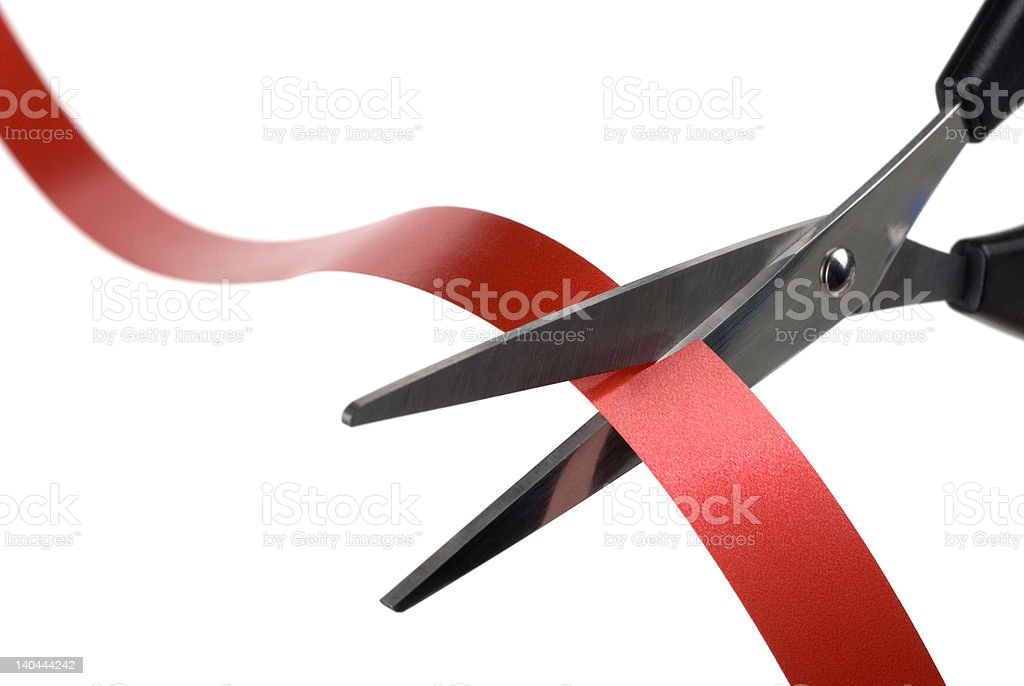 Cutting the Red Ribbon. royalty-free stock photo