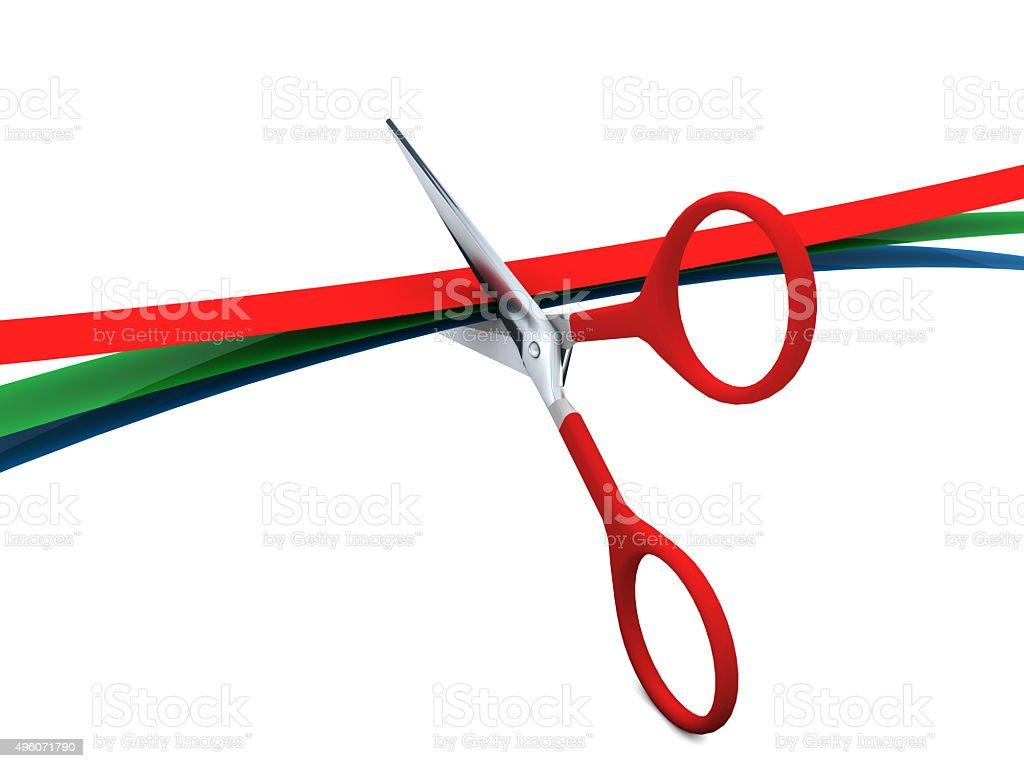 Cutting The RGB Ribbons stock photo