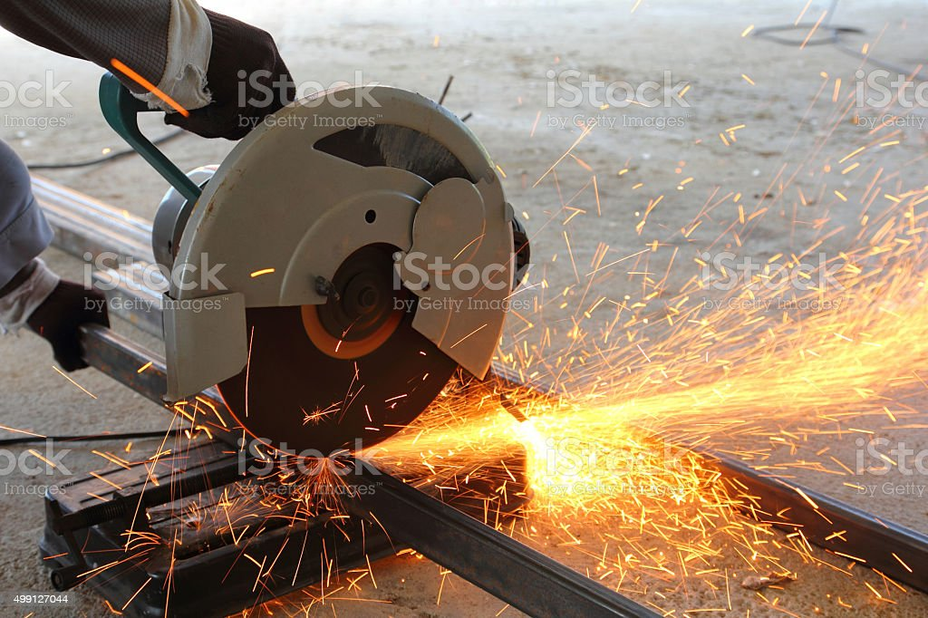 Cutting the steel stock photo