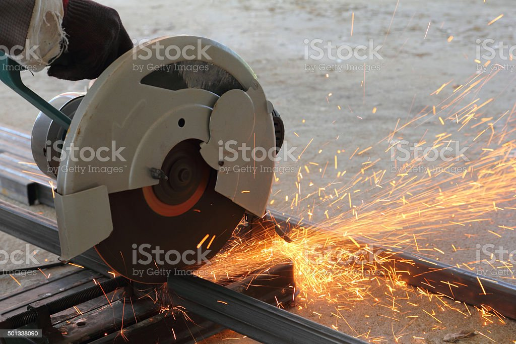 Cutting the steel stock photo