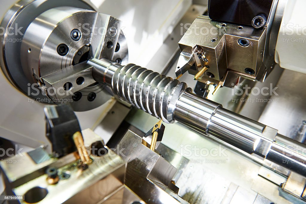 cutting tool at metal working stock photo