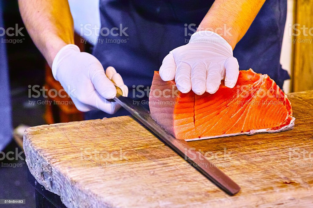 Cutting tuna stock photo