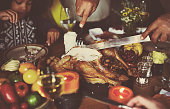 Cutting Turkey Thanksgiving Celebration Concept