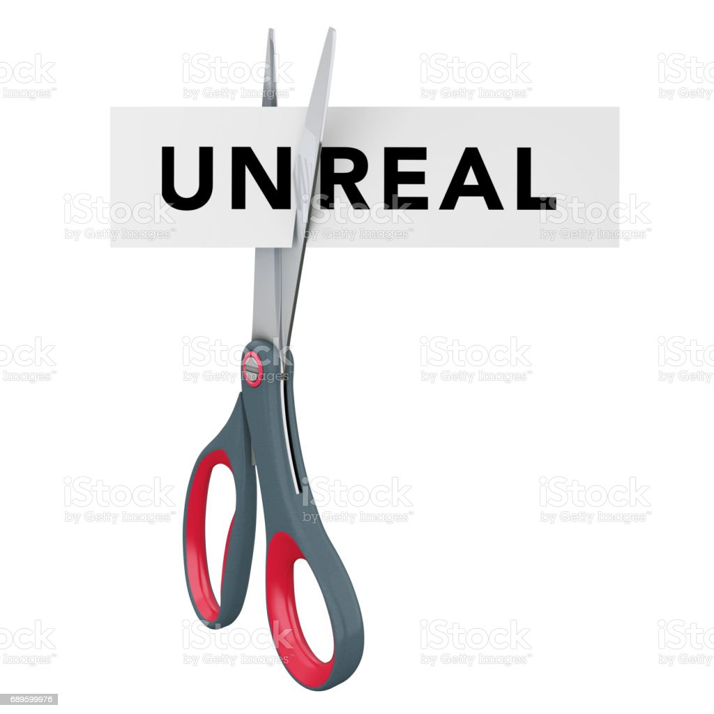 Cutting Unreal to Real Paper Sign with Scissors. 3d Rendering stock photo