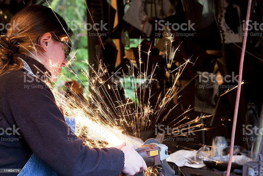 Cutting with Grinder royalty-free stock photo