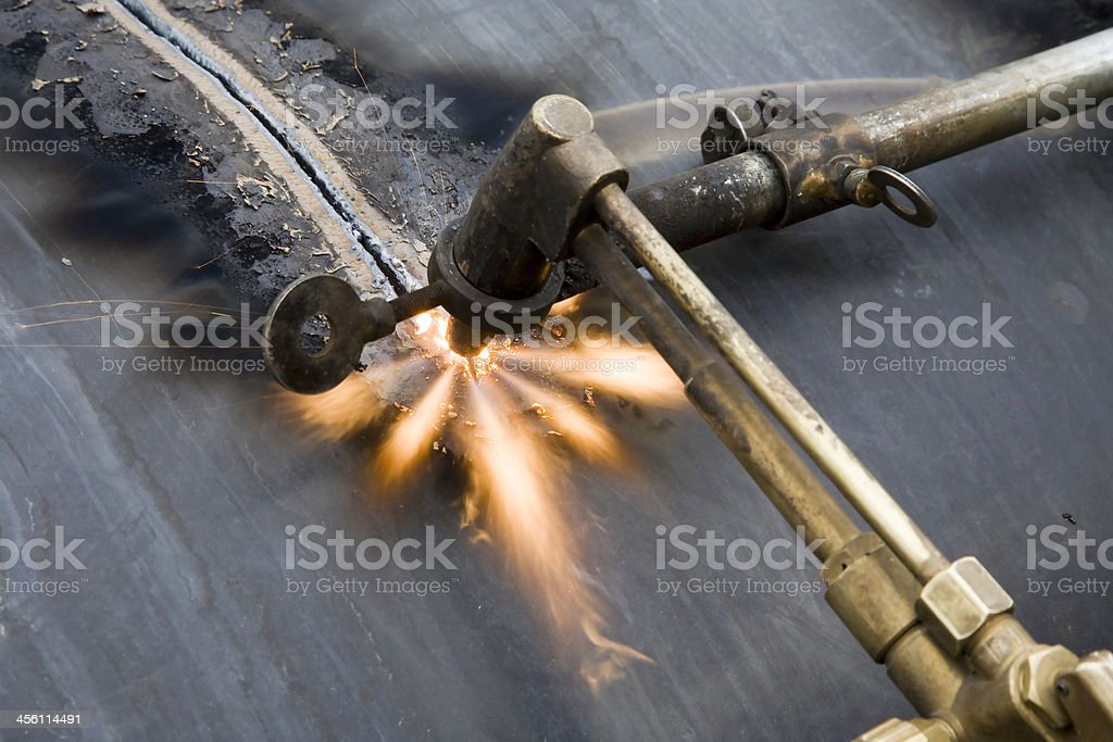 Cutting with Oxygen-Acetylene Welding: Star Flame royalty-free stock photo