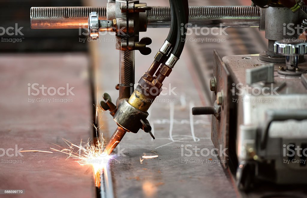 LPG cutting with sparks close up stock photo
