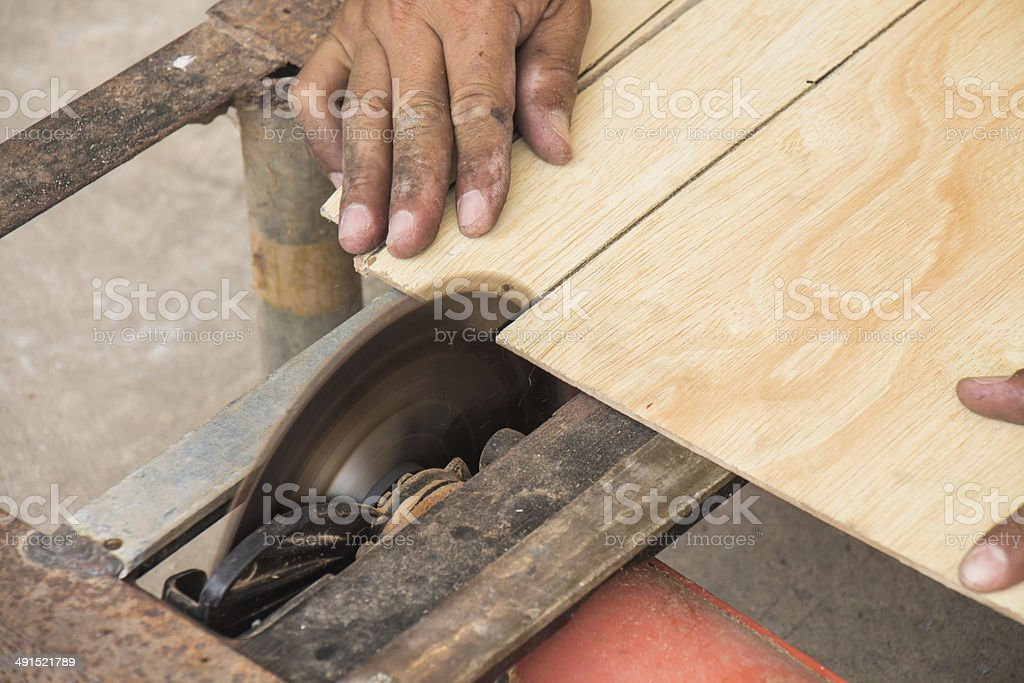 Cutting wood royalty-free stock photo