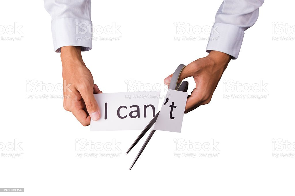 Cutting word 'I can't' stock photo