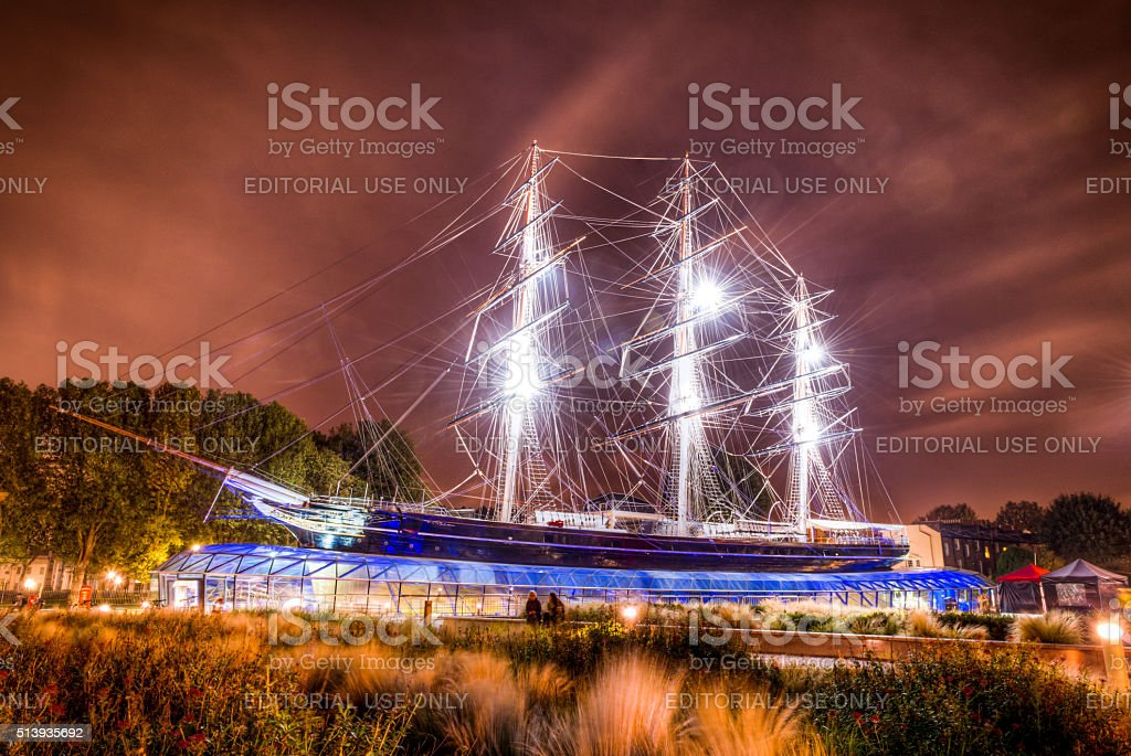 Cutty Sark boat in Greenwich at night stock photo