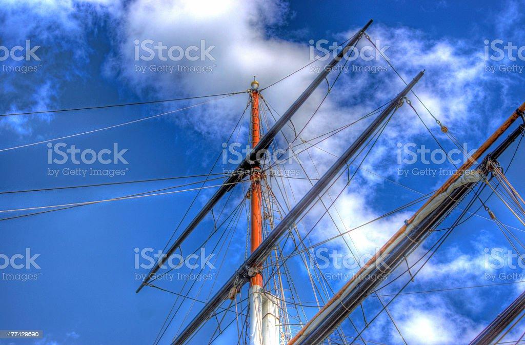 Cutty Sark mast at Greenwich stock photo