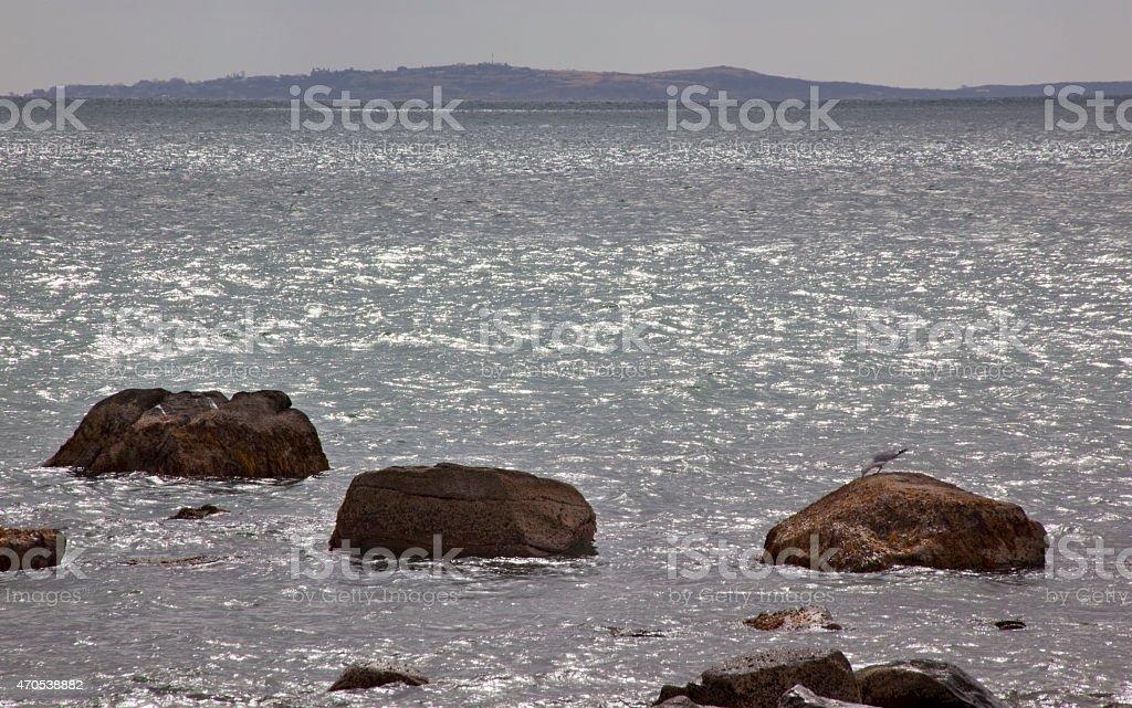 Cuttyhunk Island from Westport Massachusetts Ocean Seagull Rocks stock photo