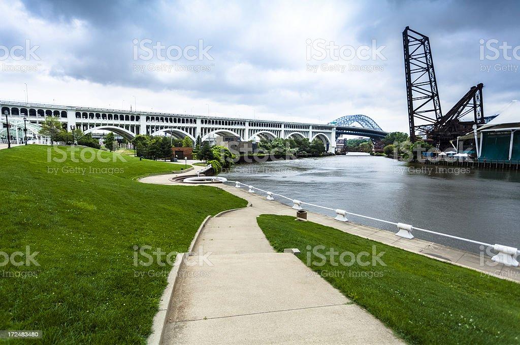 Cuyahoga River, Cleveland stock photo