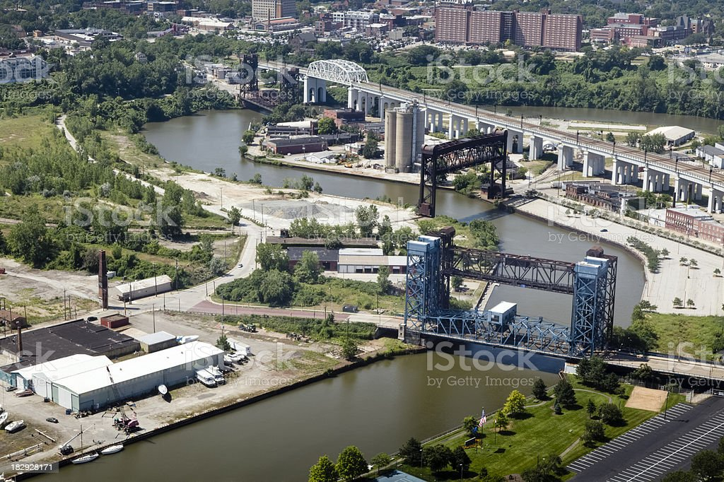 Cuyahoga River's Industrial Area, Cleveland - Merged Panorama stock photo