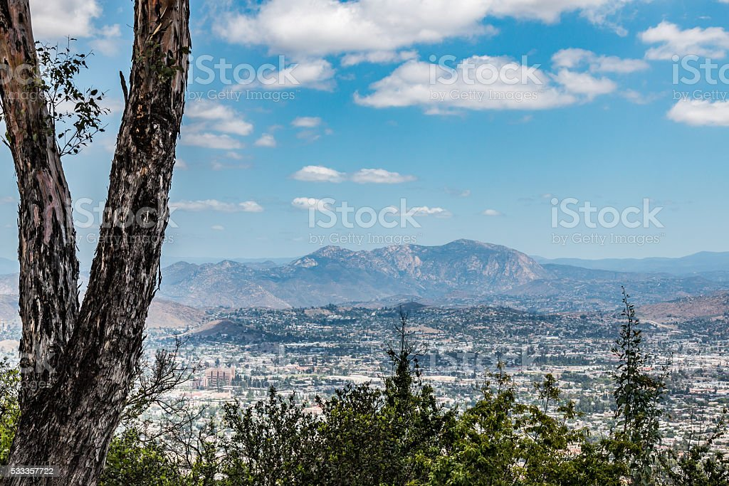 Cuyamaca Peak and El Cajon View From Mt. Helix Park stock photo