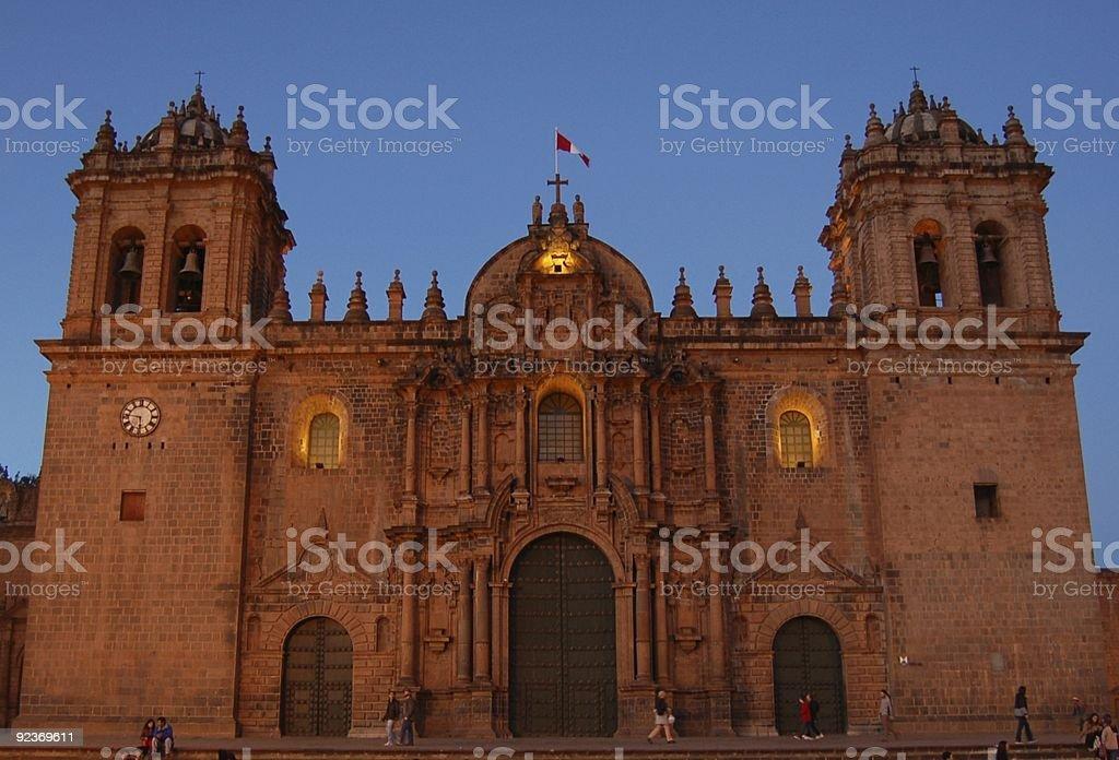 Cuzco katedry w wieczorem Zmierzch zbiór zdjęć royalty-free