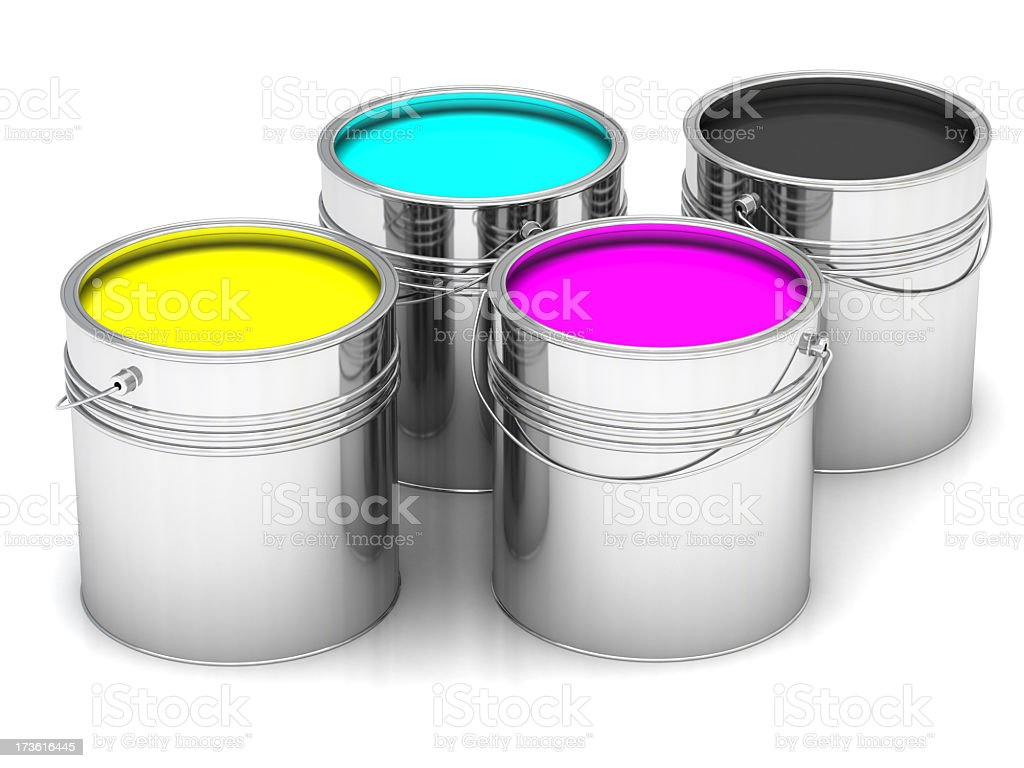 Cyan, Magenta, Yellow and Black paints in  cans stock photo