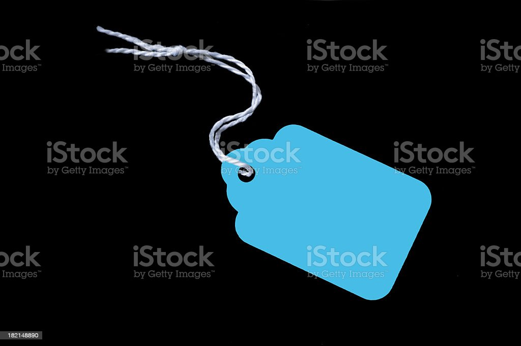 Cyan Price Tag  On Black royalty-free stock photo