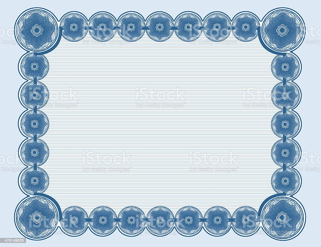 Cyanotype document frame with cyan background suitable for 8.5'x11' printing stock photo