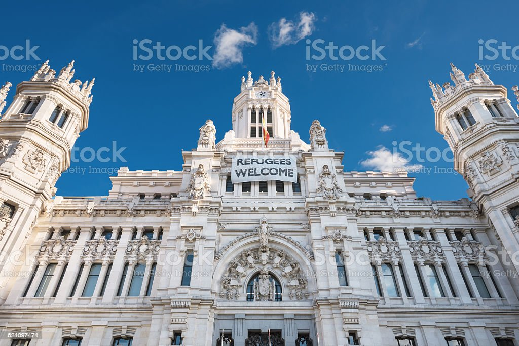 Cybeles Palace City Hall in Madrid, Spain. stock photo