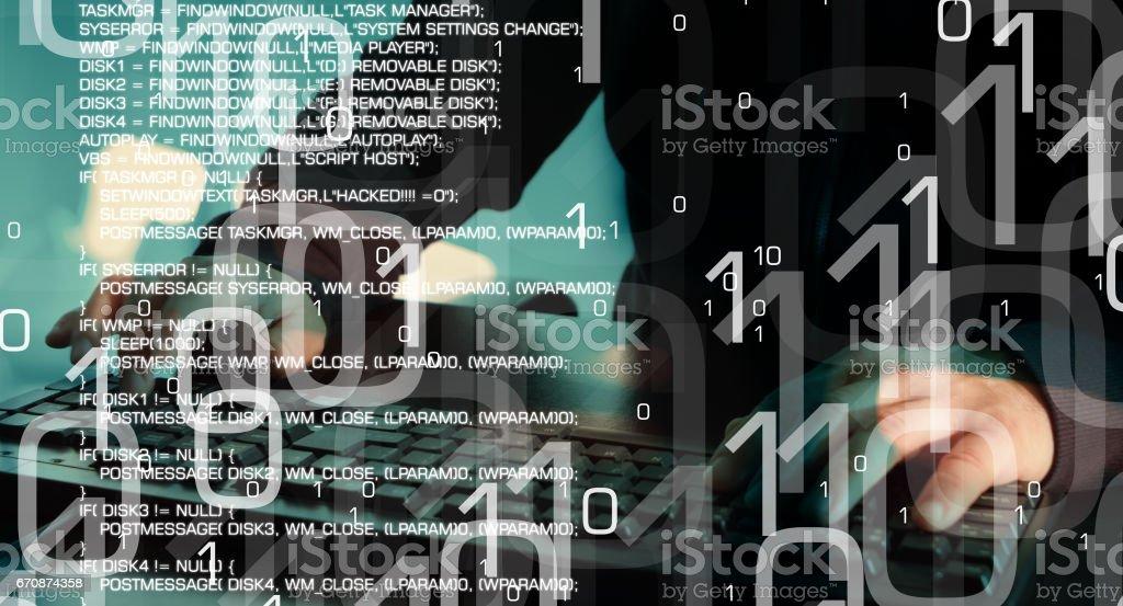 Cyber attack, futuristic cyber crime stock photo