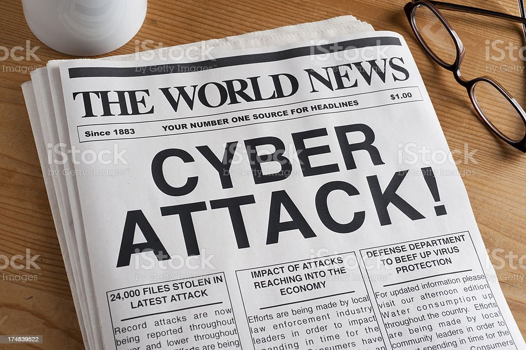 Cyber Attack Headline stock photo