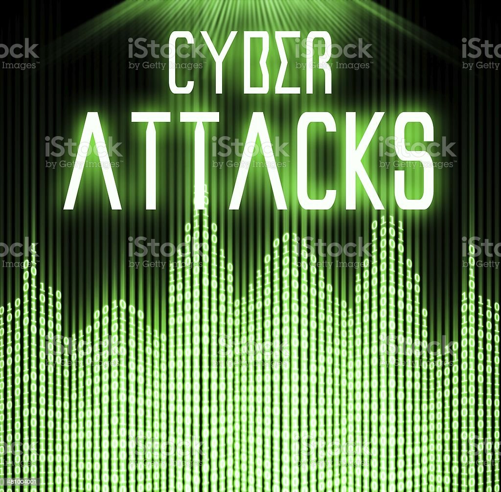 Cyber attacks with matrix binary code technology stock photo