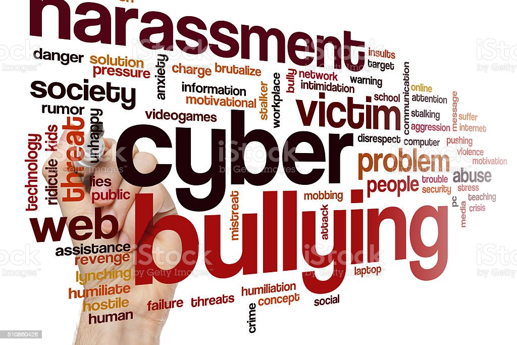 Cyber bullying word cloud stock photo