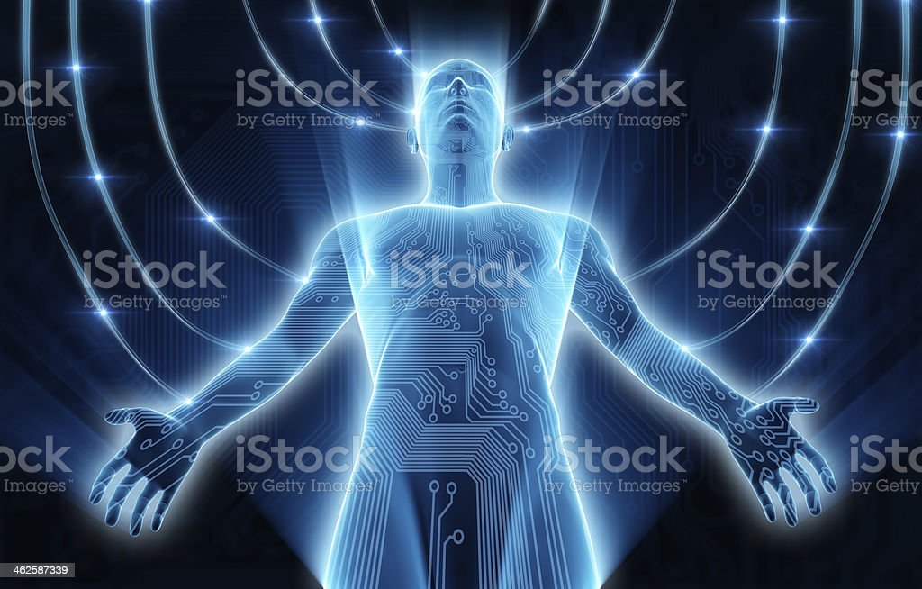 Cyber concept: Man connected to data transmissions stock photo