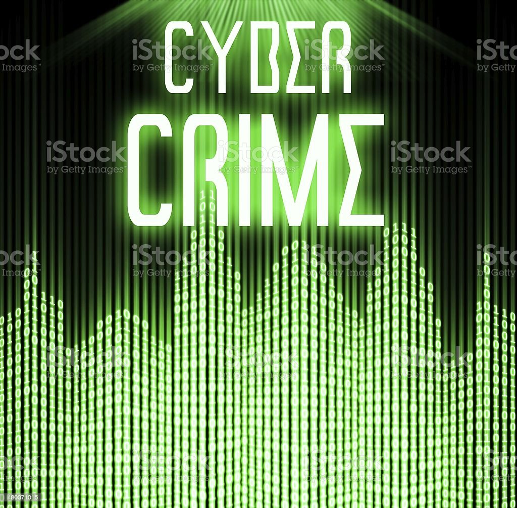 Cyber crime with matrix binary code technology stock photo