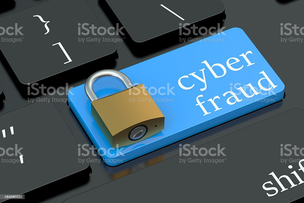 Cyber Fraud keyboard button stock photo