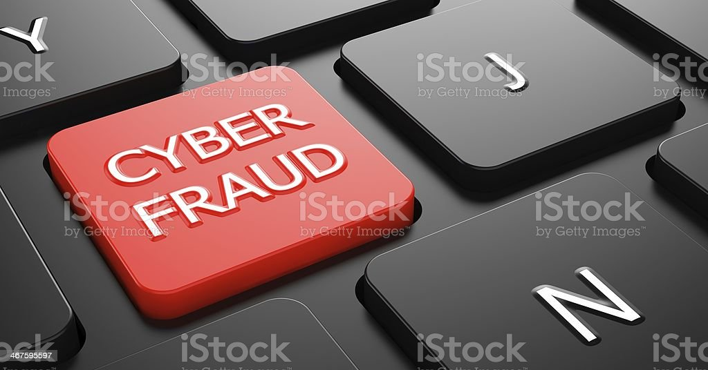 Cyber Fraud on Red Keyboard Button. royalty-free stock photo