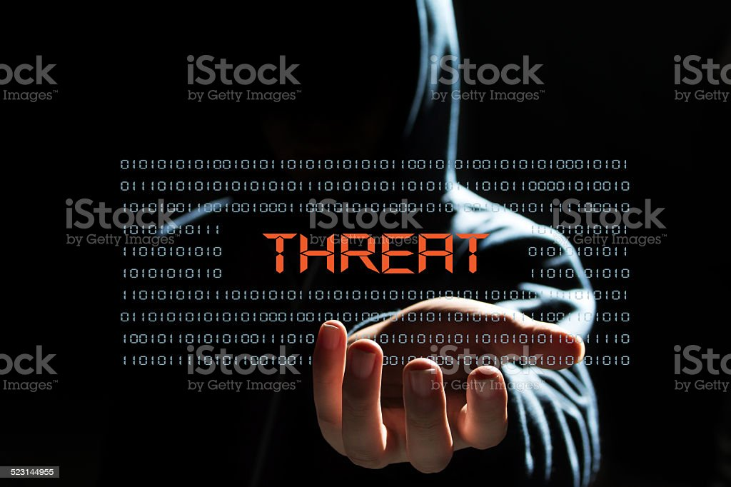 cyber hacker with  threat text icon stock photo