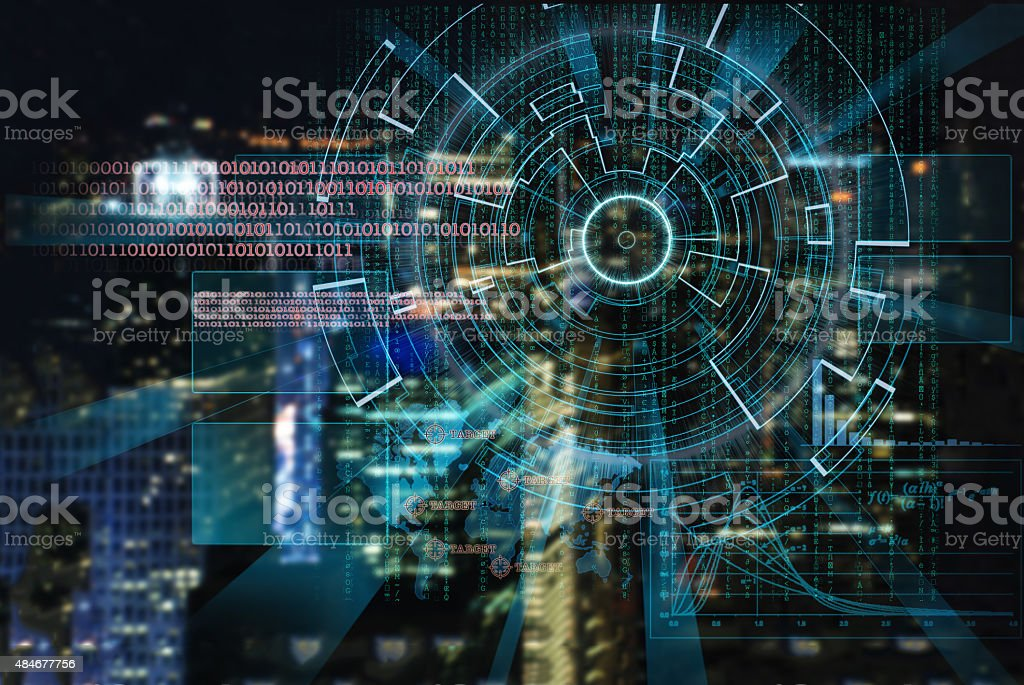 cyber laser target on a night city blurred background stock photo