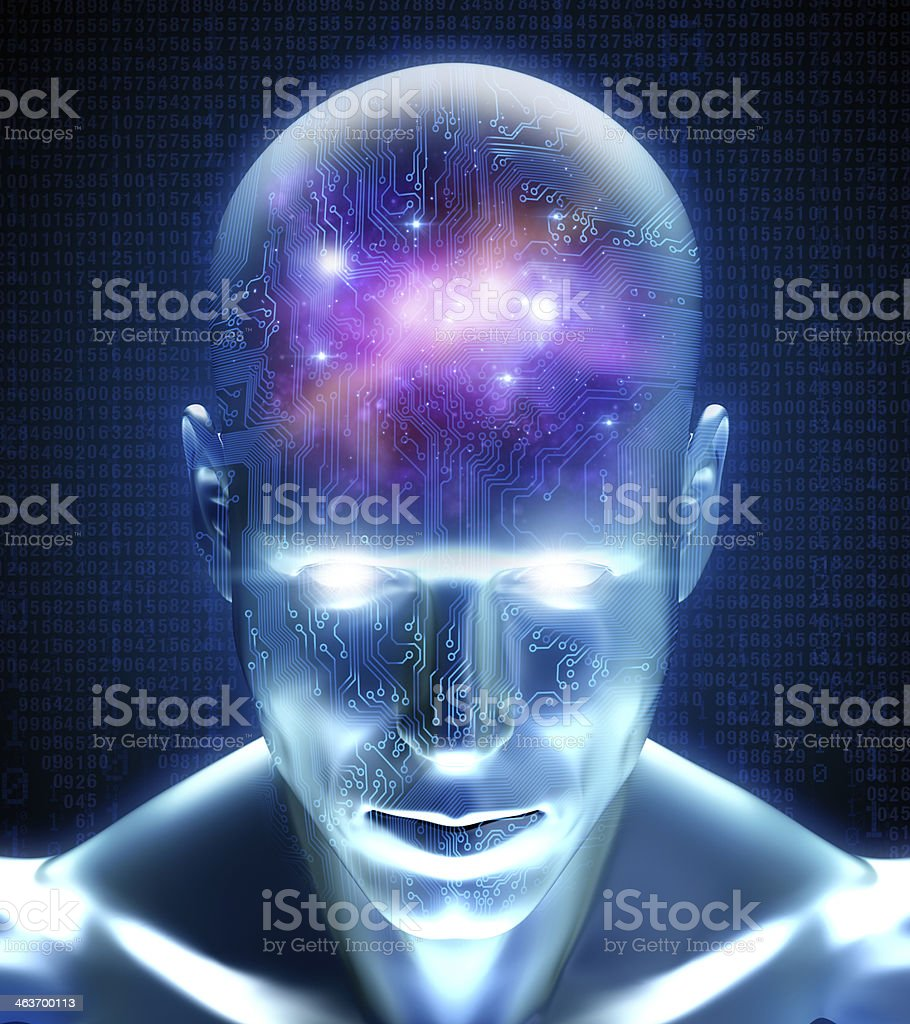 Cyber man with circuits and space inside his mind royalty-free stock photo
