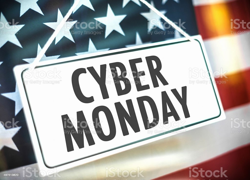 cyber monday door sign on a commercial shop stock photo