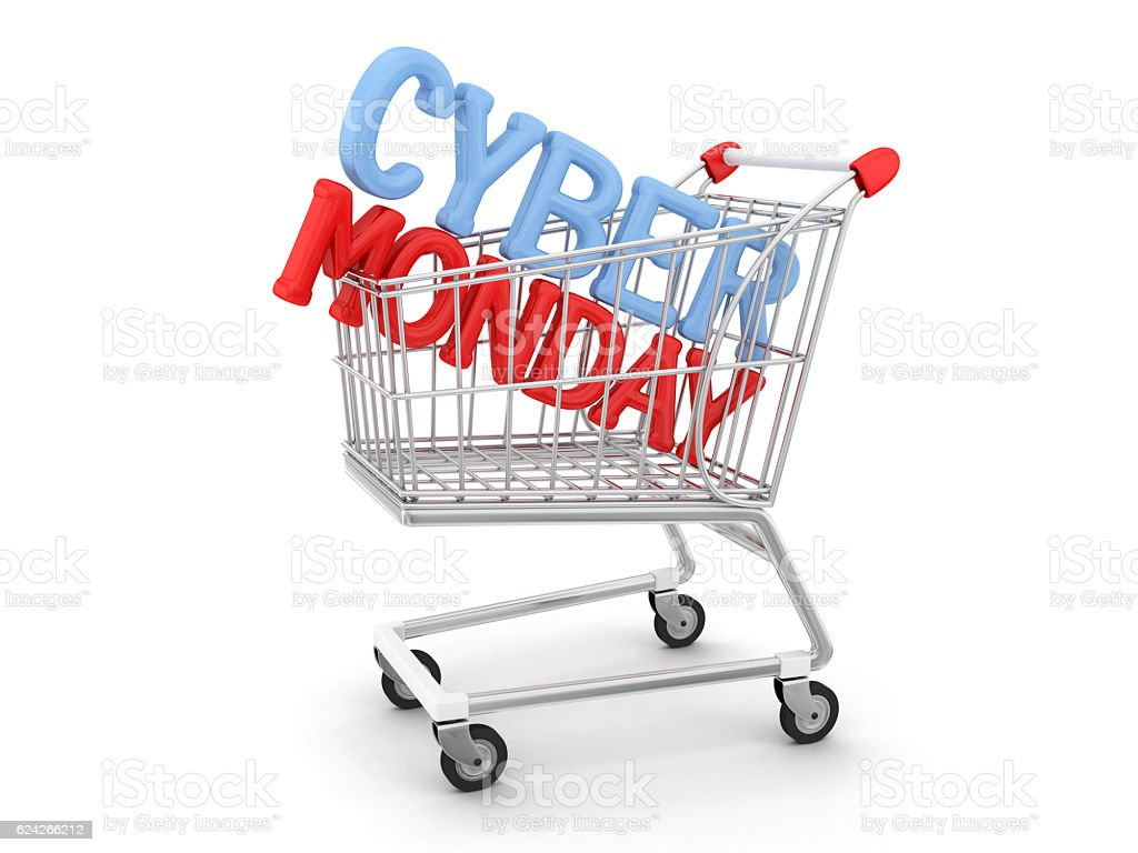 Cyber Monday in shopping trolley stock photo