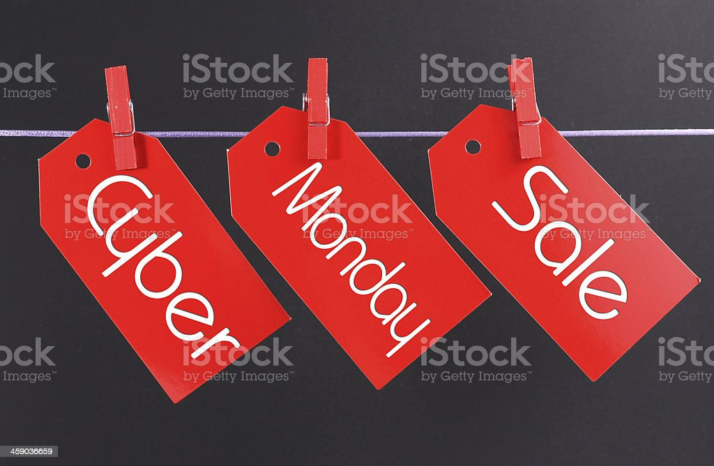 Cyber Monday online Christmas shopping sale concept stock photo