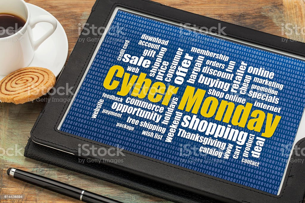 Cyber Monday online shopping concept stock photo